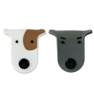 2x Cute Dogs Earphone Winder Headphone Cable Cord Wrap Rubber Glay Brown
