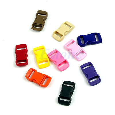 50Pcs Colored Curved Side Release Plastic Buckles For Umbrella Paracord Bracelet