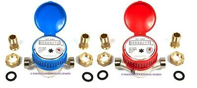 Water Flow Meter - Hot or Cold Water - With Connectors