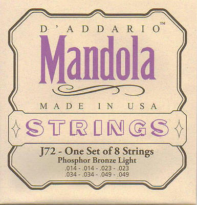 D'addario J72 Mandola strings, light gauge, phosphor bronze.