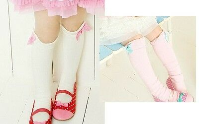 Toddlers Kids Girls Cotton Bow Pink White Knee High Socks 1-8Y Tights KHS008