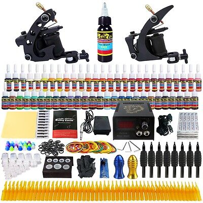 Complete Solong Tattoo Kit 2 Pro Machine Guns 54 Inks Power Supply Grips TK251