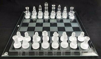 New 2-In-1 IMPERIAL GLASS CHESS CHECKERS SET Frosted 25cm x 25cm Games