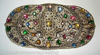 Very large Edwardian Czech pressed metal & multi-coloured glass oval brooch