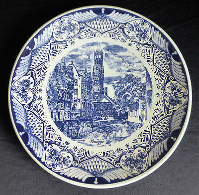 Vintage - Delft Blauw Wall Plate / Charger - Brugge - 11¾ Inches