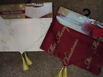 BNWT Merry Christmas Xmas luxury red or gold table runner approx 33cm x 183cm