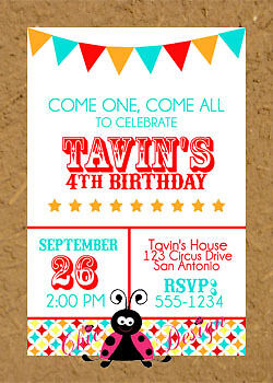 93 Personalized Carnival Birthday Invitations
