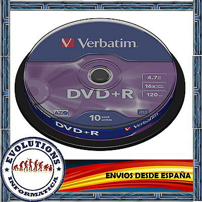 DVD VERBATIM +R 4.7GB 16x TARRINA 10 UNIDADES DVD+R ORIGINAL NO 25 50 100 200