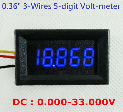 "4-1/2"" 4.5-Digit Volt meter Panel Counter BLUE LED DC 0 to 33V 3-Wires Display"