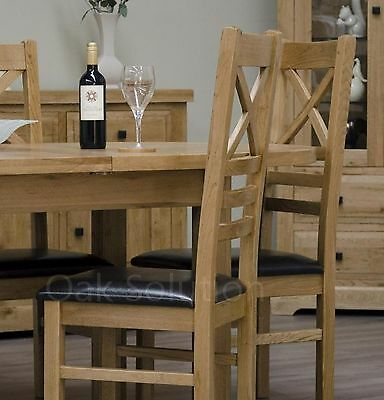 Regent solid oak furniture set of four cross back dining chairs