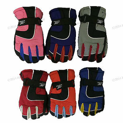 Boy's Girl's Juniors Youth Ski Gloves Winter Snow Insulated Waterproof One Size