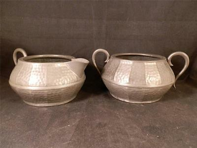 Stunning Arts & Crafts Knighthood Old English Pewter Sugar Bowl & Milk Jug