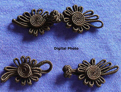 10 pairs black floral Chinese Frogs Closure buttons sewing