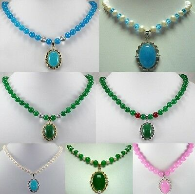 11 color-beautiful white/pink/blue jade white pearl necklace & 18KGP pendant