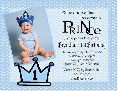 Princess Prince BOY OR GIRL Birthday Party Invitations Custom Personalized