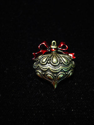 """JJ"" Jonette Jewelry Bronze Pewter 'CHRISTMAS Ornament #1' Tac Pin"