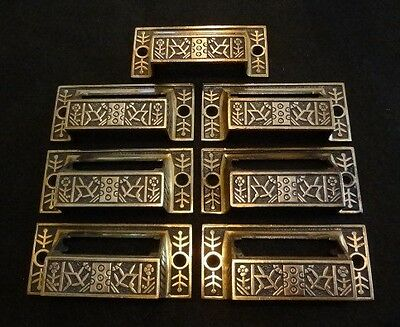 Set 7 Antique Reading Hardware Windsor Bin Pulls Brass Plated Eastlake Victorian