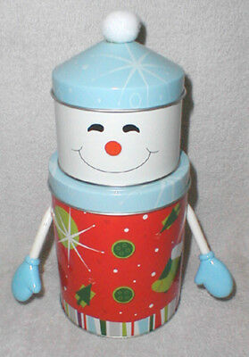 Small Stacked Canister Snowman Tin With Arms - Blue!!!