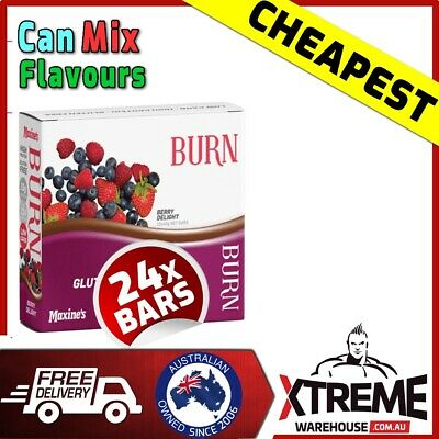 24 x MAXINE'S BURN BARS 40g - LOW CARB FAT LOSS -  PROTEIN WOMENS MAXINES MAXINE