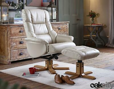 Shenhua - Leather Swivel Recliner Chair And Foot Stool Choice Of Colours