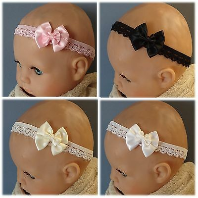 Lace Baby Headband with Double Satin Bow - Different sizes/ colours available