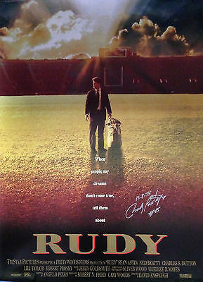 "Rudy Ruettiger Autographed/Signed ""Rudy"" Movie Poster with '11-8-75' Inscription"