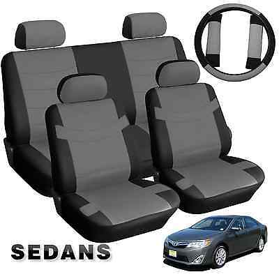 Faux PU Leather Black and Gray Leatherette Car Seat Covers 13pc Compact Sedans