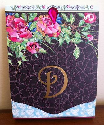 New Notepad Letter D with Roses Small with Magnetic Close