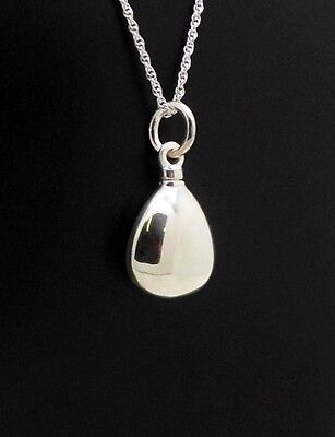 925 Sterling Silver Teardrop Memorial Keepsake Cremation Pendant Funeral Urn NIB