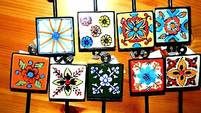 Nwt Decorative Ceramic Handmade Hand Painted Square Wall Hooks Floral