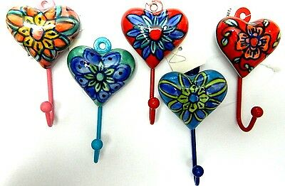 Nwt Decorative Ceramic Handmade Hand Painted Heart Wall Hooks Floral From India