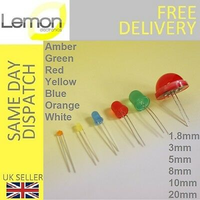 Diffused LED 1.8mm 3mm 5mm 8mm 10mm 20mm Red Blue White Green Yellow Orange