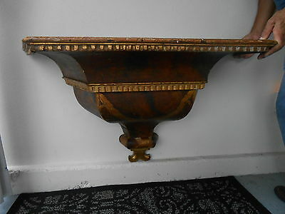 18th Century Antique Italian Gilt and Painted Wall Mount Bracket Console Table