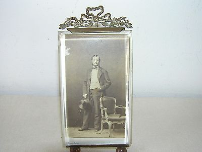 Antique Brass French Photo Frame With Beveled Glass.