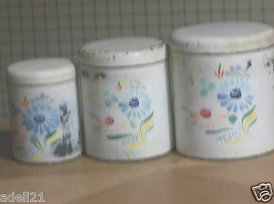 Vintage 1950s Ransburg Tin Canisters Hand Painted white Floral USA 6PcSet