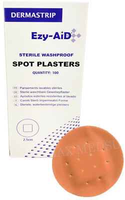 100x  Washproof Spot Plasters 2.2cm, Low Allergy, Latex Free - HIGH QUALITY, CE