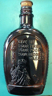 Log Cabin Syrup Vintage Collector's Bottle Statue Of Liberty Amber Glass America