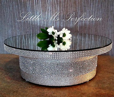 Round Square Gold Silver Mirror Top Diamante Effect Wedding Cake Stand  16""