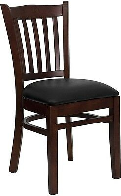 Mahogany Wood Finished Vertical Slat Back Restaurant Chair with Black Vinyl Seat