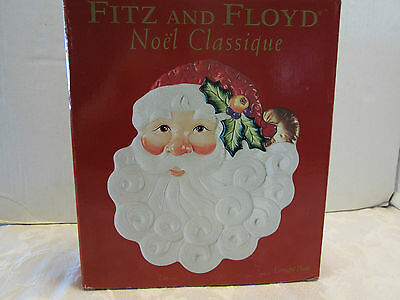 "Fitz Floyd Santa Claus Noel Collector Canape Plate 8"" White & red 46944 78787 3"