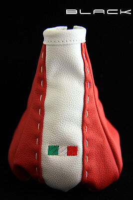 CUFFIA CAMBIO FIAT 500 in pelle rossa con bandiera GEAR BOOT leather logo new