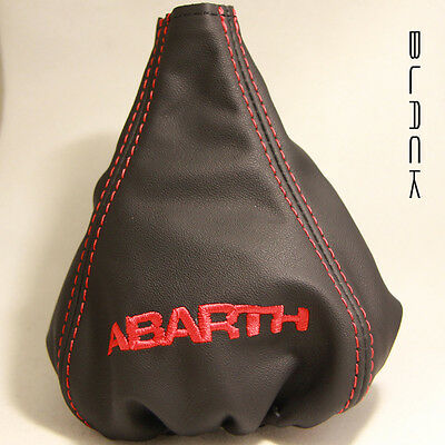 CUFFIA CAMBIO FIAT 500 ABARTH in pelle nera logo abarth GEAR BOOT leather