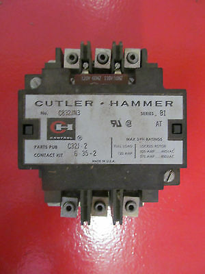 Cutler Hammer C832JN3 B1 Contactor With 120 V Coil
