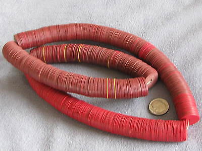 "28"" Str Vintage Vinyl African Trade Beads, Red Yellow Brown 1x18mm"