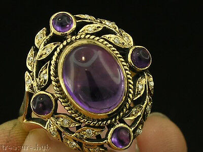 C276 - Genuine 9ct Solid Gold NATURAL Amethyst & Diamond Large Ring in your size