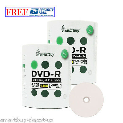 200 Pcs SmartBuy DVD-R DVDR 16X 4.7GB White Inkjet Hub Printable Recordable Disc