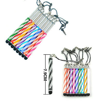 10pcs Bling Retractable Stylus Touch Screen Pen For Samsung iPhone HTC Tablet