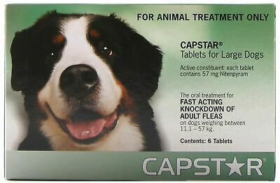 Capstar for Dogs 11 to 57 Kg 6 Pack Tablets Kills Fleas Fast in Green Box
