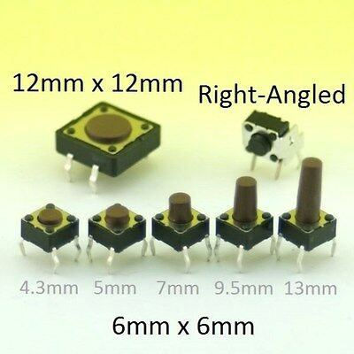 Momentary Tactile Switch SPST Push Button Miniature Micro PCB Mounted