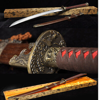 45' FOLDED STEEL BLADE FULL TANG HAND MADE CHINESE SWORD DRAGON PHOENIX DAO